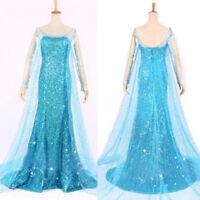 Frozen Movie Elsa Queen Blue Dress Adult Women Costume Cosplay Dress Gift Gown