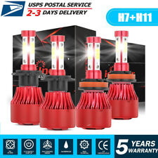 4-Side Combo H7 H11 Led High Low Beam Headlight Bulbs Kit 3000W 450000LM 6000K