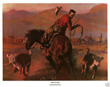 A Split Decision Tom Ryan Roping Horse Cowboy Art Print Poster 32x25