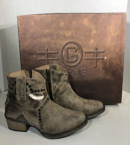 Circle G By Corral Q5071 Women's Size 5 Bone Star Inlay Studs Ankle Boots ZF-675