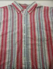 Scandia Woods Extra Large Red/White Stripe Short Sleeve Cotton Mens Shirt B-63