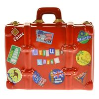 Spardose Urlaubskasse Koffer aus Keramik Sparbüchse Sparschwein Reisekasse