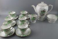 Shelley 'Green Blossom' Tea/Coffee set in the rare Perth Shape