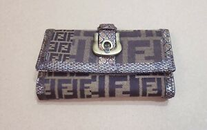 Fendi Zucca Brown Monogram Leather/ Snake Skin Wallet Made in Italy Rare VTG