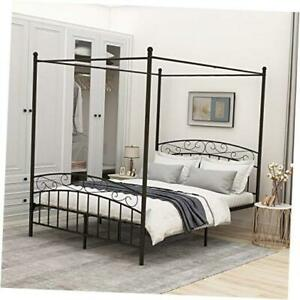 Sturdy Metal Canopy Bed Frame Size with Headboard and Queen Black