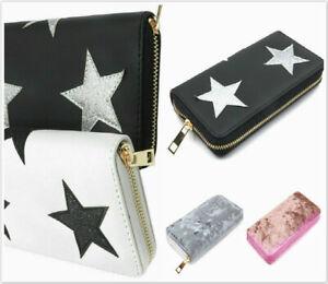 Womens Long Zip Stars Purse Ladies Velveteen Purse Multi Compartment Wallet