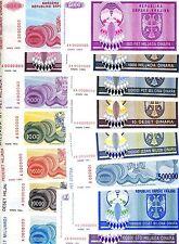 Complete Specimen Set, Croatia, Knin, R1 to R34, 1992-1994, 34 banknotes, UNC