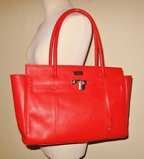 OSPREY London Lovely Large Red Orange Grained Leather Shoulder Shopper Tote Bag