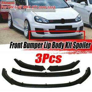 For Volkswagen Golf MK6 GTI 10-13 Gloss Black Front Lip Bumper Spoiler Splitte