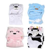 Baby Kids Infant Boy Girl Cartoon Animal Hooded Bath Towel Bathrobe Bathing Wrap
