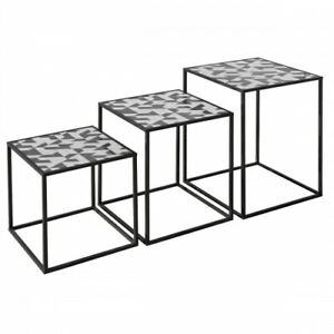Nest of 3 Tables - Geometric Design - Acrylic Top - Black and White