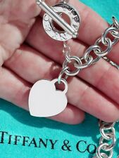 Tiffany & Co Heart Tag Sterling Silver Toggle Charm Choker Necklace 16 Inch