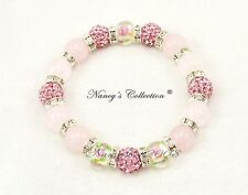 Exclusive Pink 10mm Shamballa Rose Quartz Beaded Elastic Bracelet 16 beads