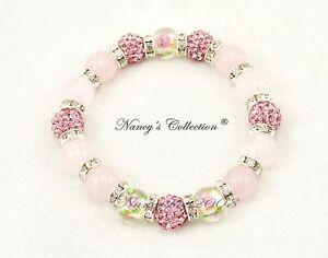 Exclusive Pink 10mm Shamballa Rose Quartz Beaded Elastic Bracelet 16 beads