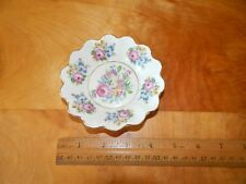 CZECHOSLOVAKIA SMALL TRINKET RING NUT DISH GOLD PINK FLORAL
