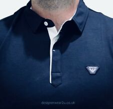 Armani Jeans indigo blue XXL 2XL Polo Shirt with embroidered logo RRP £85 bnwt