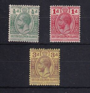 BRITISH SOLOMON ISLANDS 1913 Postage Postage Values as Scan ½d MM 1d and 3d LMM