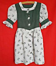 VINTAGE  OKTOBERFEST DIRNDL TYROL EDELWEISS GREEN LINEN GIRLS DRESS-SIZE:04/104