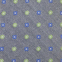 SAMUELSOHN Mens Gray Blue Green FLOWER SHAPES Woven Silk Tie Italy NWOT