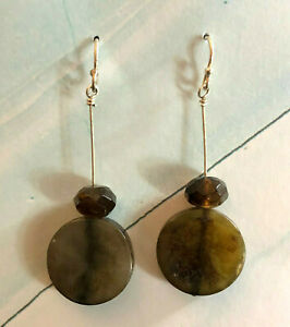 "Sterling Silver Earrings Labradorite Circle Brown Crystal 1.8"" 5.8g 925 1702"