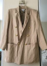 Beige Sand Color Jacket Blazer Front Down Double Breasted Buttons Size 14W