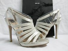 Dolce Vita Size 8.5 M Riso Ivory Satin Open Toe Heels New Womens Shoes
