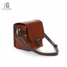 PU Waterproof DSLR Camera Shoulder Bag Red-brown for Canon Nikon Size S