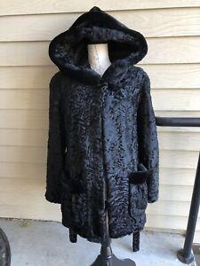 NWT LUX EXCLUSIVE. Black Astrakhan Lamb Fur Coat Size 8, $4920
