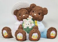 Vintage Easter Bears & Bunny With Easter Eggs Ceramic Decor Figurine 2000