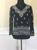 Black floral Sheer Boho Long Sleeve Embellished Embroidered Blouse Top XS