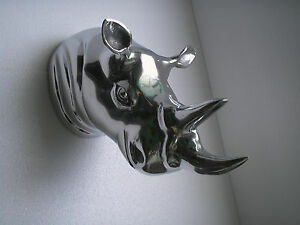 Metal Big Rhino Wall Head Animal Sculpture Rhinoceros Statue Figurine au