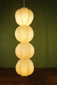 60er Vintage Cocoon Deckenlampe Friedel Wauer Goldkant Lampe Pendelleuchte