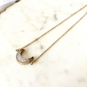 Gold Durzy Moon Necklace Link Chain Crystals Stone Healing New Moon Sparkle