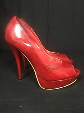 Women Red Paton High Heel Peep Toe Shoes UK Size 4
