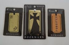 "Lot of 3 Christian Metal Bookmarks ""Forgiven"" ""Let God Be God"" Gold Plated Cross"