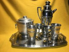 New listing Vtg silver Chromium cocktail set with Ice bucket Ketstone Ware Italy old set.