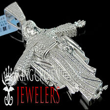 10K White Gold Finish Diamond Jesus Christ Pendant Round Pave Praying Charm 2.5'