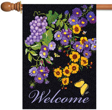 Toland Butterfly Vineyard 28 x 40 Colorful Purple Flower Welcome House Flag