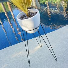 "29"" LRG MODERN HAIRPIN BASE PLANTER & STAND - MID CENTURY EAMES ERA BULLET STYLE"