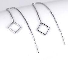 Damen Ohrringe Durchzieher Raute Quadrat echt Sterling Silber 925 geometrisch