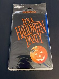 Vintage HALLOWEEN 8 Party Invitations Cards American Greetings Pumpkin Spider