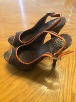 Vince Camuto Brown & Orange Snakeskin Heels Open Toe Size 8.5