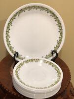 Vintage 11 Corelle Saucers + 1 Plate Crazy Daisy Pattern Green Rim