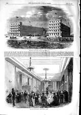 Original Old Antique Print 1853 Mount Vernon Hotel Cape May Jersey Warde 19th