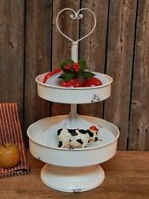 Rustic Industrial Farmhouse Metal 2 Tier Spinning Display Stand Shabby White