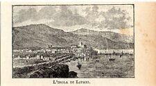 Stampa antica LIPARI piccola veduta panoramica Messina Sicilia 1905 Old print