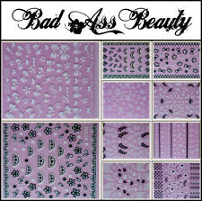 Black White Lace Bows Crown Butterfly 3D Nail Art Stickers UV Acrylic Decals