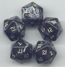 RPG Dice Set of 5 D20 - Marble Black