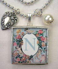 MONOGRAM INITIAL LETTER N   RVSBL HEART CHARM NECKLACE