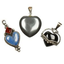 THREE (3) VINTAGE STERLING SILVER GEMSTONE HEART PENDANTS